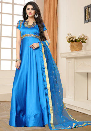 Embroidered Art Silk Abaya Style Suit in Blue