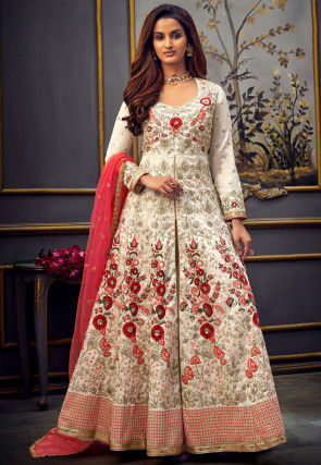 Embroidered Art Silk Abaya Style Suit in Cream