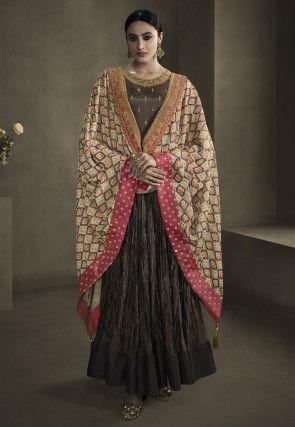 Embroidered Art Silk Abaya Style Suit in Dark Brown