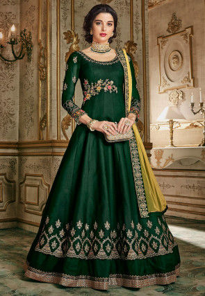 Embroidered Art Silk Abaya Style Suit in Dark Green
