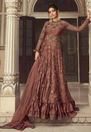 Embroidered Art Silk Abaya Style Suit in Dark Old Rose