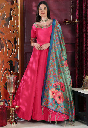 Embroidered Art Silk Abaya Style Suit in Fuchsia