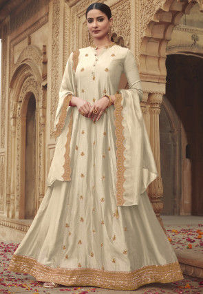 Embroidered Art Silk Abaya Style Suit in Light Beige