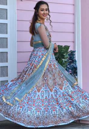 Embroidered Art Silk Abaya Style Suit in Light Blue
