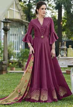 Embroidered Art Silk Abaya Style Suit in Magenta