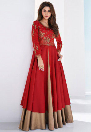 Embroidered Art Silk Abaya Style Suit in Red and Beige