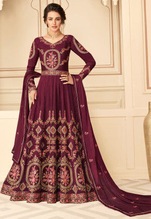 Embroidered Art Silk Abaya Style Suit in Maroon