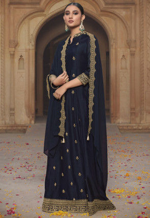 Embroidered Art Silk Abaya Style Suit in Navy Blue