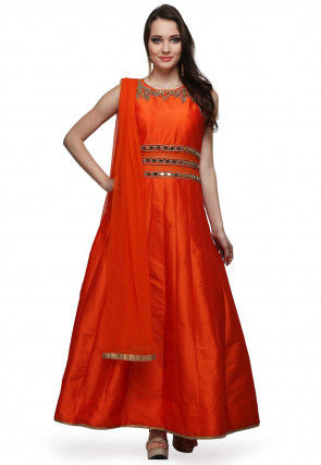 Embroidered Art Silk Abaya Style Suit in Orange