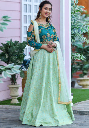 Embroidered Art Silk Abaya Style Suit in Pastel Green and Blue