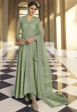 Embroidered Art Silk Abaya Style Suit in Pastel Green