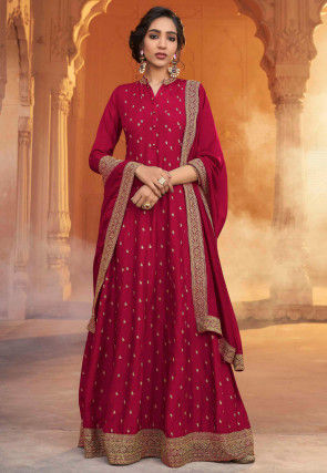 Embroidered Art Silk Abaya Style Suit in Pink