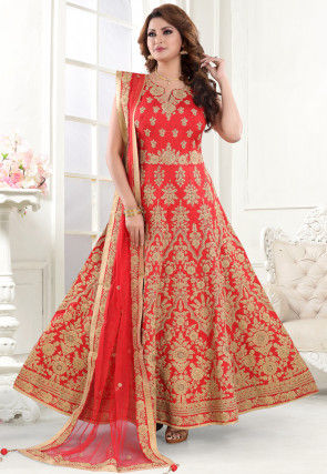 Embroidered Art Silk Abaya Style Suit in Red