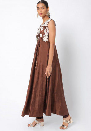 Embroidered Art Silk Anarkali Suit in Brown