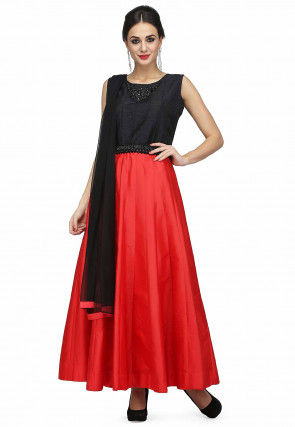 Embroidered Art Silk Anarkali Suit in Coral Red and Black