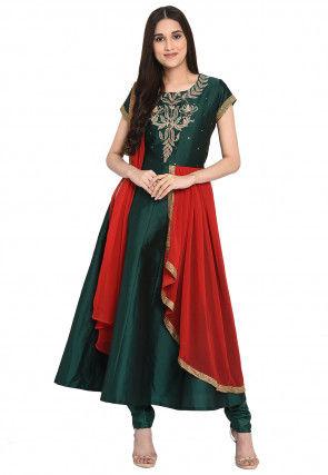 Embroidered Art Silk Anarkali Suit in Dark Green