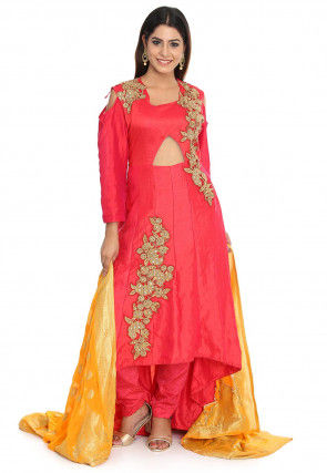 Embroidered Art Silk Anarkali Suit in Fuchsia