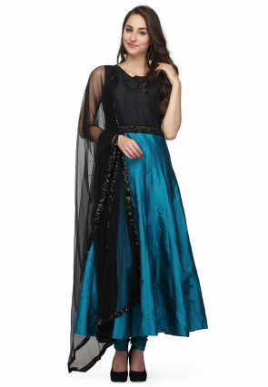 Embroidered Art Silk Anarkali Suit in Teal Blue and Black