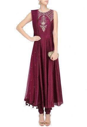 Embroidered Art Silk Anarkali Suit in Wine