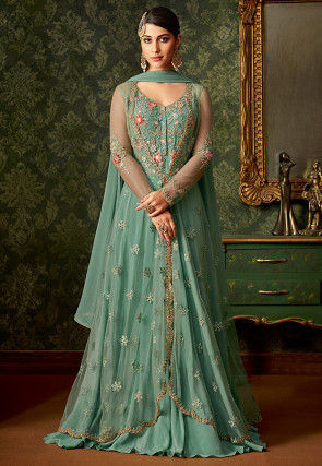 Embroidered Art Silk and Net Abaya Style Suit in Pastel Green