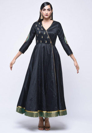 Embroidered Art Silk Angrakha Style Kurta in Black