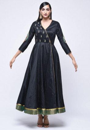Embroidered Art Silk Angrakha Style Kurta in Black