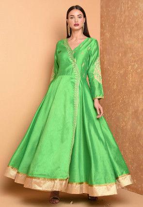 Embroidered Art Silk Angrakha Style Kurta in Green
