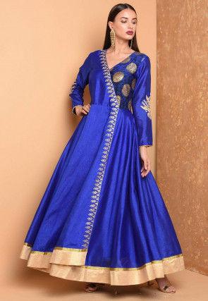 Embroidered Art Silk Angrakha Style Kurta in Royal Blue