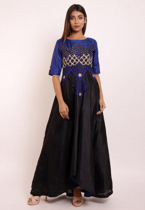Embroidered Art Silk Asymmetric Gown in Black and Blue