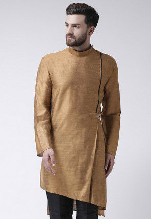 Embroidered Art Silk Asymmetric Kurta in Beige