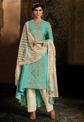 Embroidered Art Silk Asymmetric Pakistani Suit in Light Blue