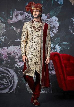 Embroidered Art Silk Asymmetric Sherwani in Light Beige