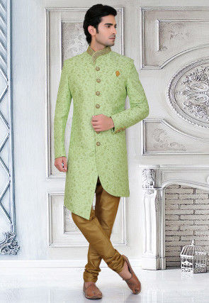 Embroidered Art Silk Asymmetric Sherwani in Light Green