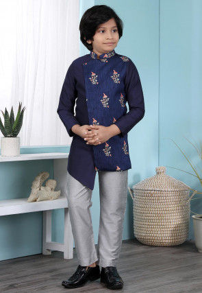 Embroidered Art Silk Asymmetric Sherwani in Navy Blue