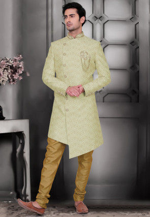 Embroidered Art Silk Asymmetric Sherwani in Pastel Green