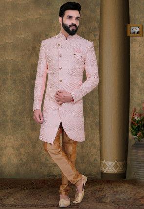 Embroidered Art Silk Asymmetric Sherwani in Pink