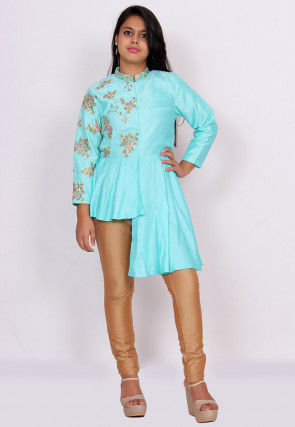Embroidered Art Silk Asymmetric Top Set in Turquoise