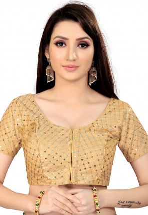 Embroidered Art Silk Blouse in Beige