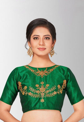 Embroidered Art Silk Blouse in Dark Green