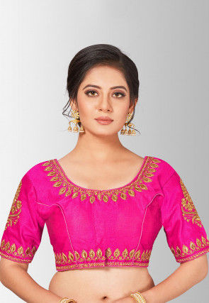 Embroidered Art Silk Blouse in Fuchsia