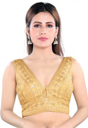 Embroidered Art Silk Blouse in Golden