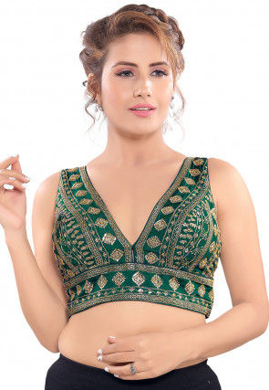 Embroidered Art Silk Blouse in Green