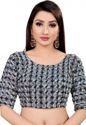 Embroidered Art Silk Blouse in Grey and Black