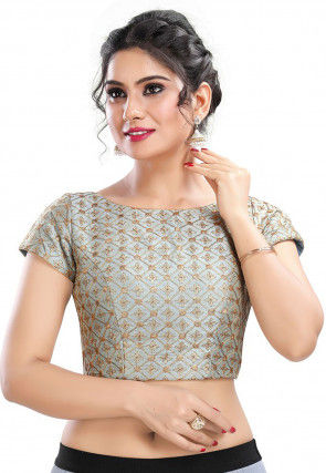 Embroidered Art Silk Blouse in Grey