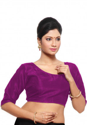 Embroidered Art Silk Blouse in Magenta