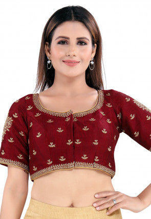 Embroidered Art Silk Blouse in Maroon