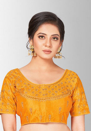Embroidered Art Silk Blouse in Mustard
