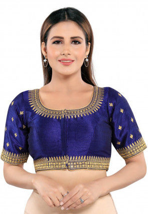 Embroidered Art Silk Blouse in Navy Blue