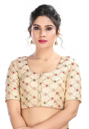Embroidered Art Silk Blouse in Off White
