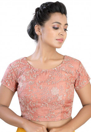 Embroidered Art Silk Blouse in Peach